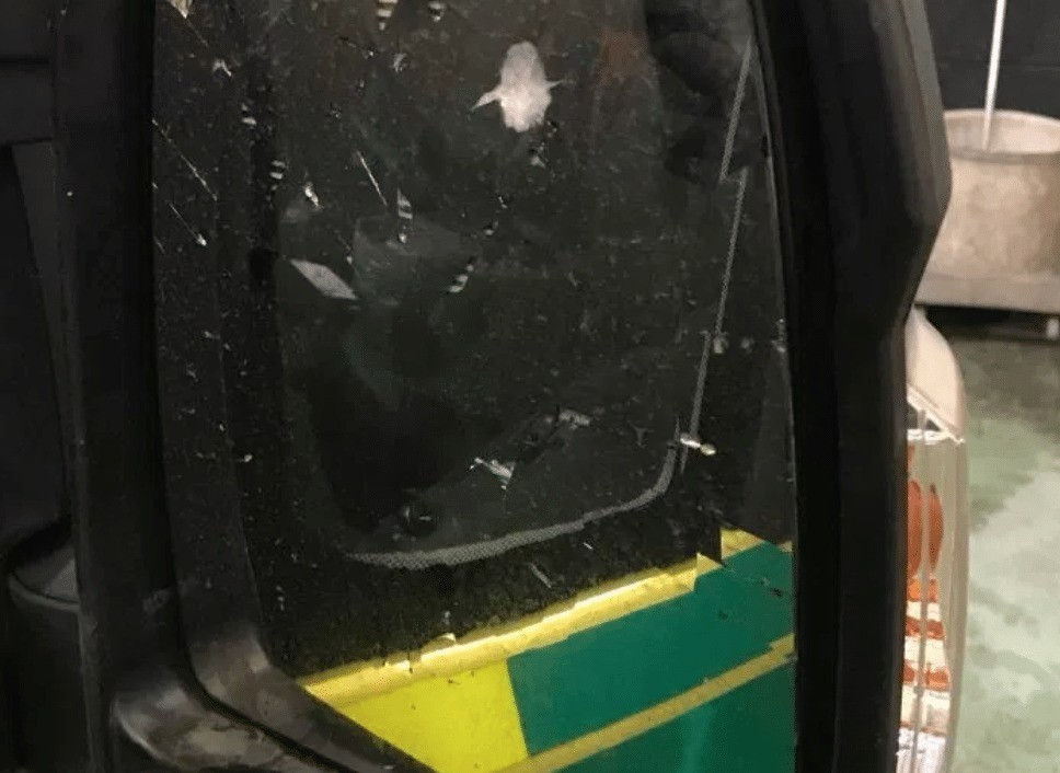 Senseless Attack On Ambulance Takes Vehicle Off The Road