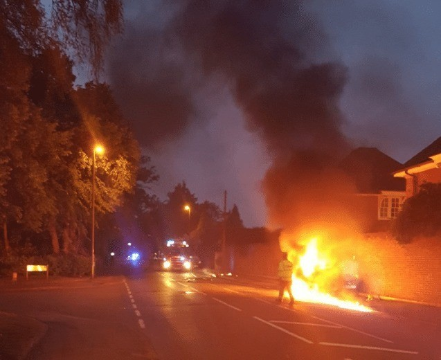 Fire Crews To Called To Car That Turns Into Fire Ball In Weybridge.