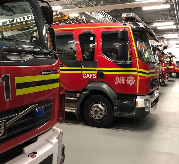 fire crews from across hampshire tackle 80 tonnes of household waste alight