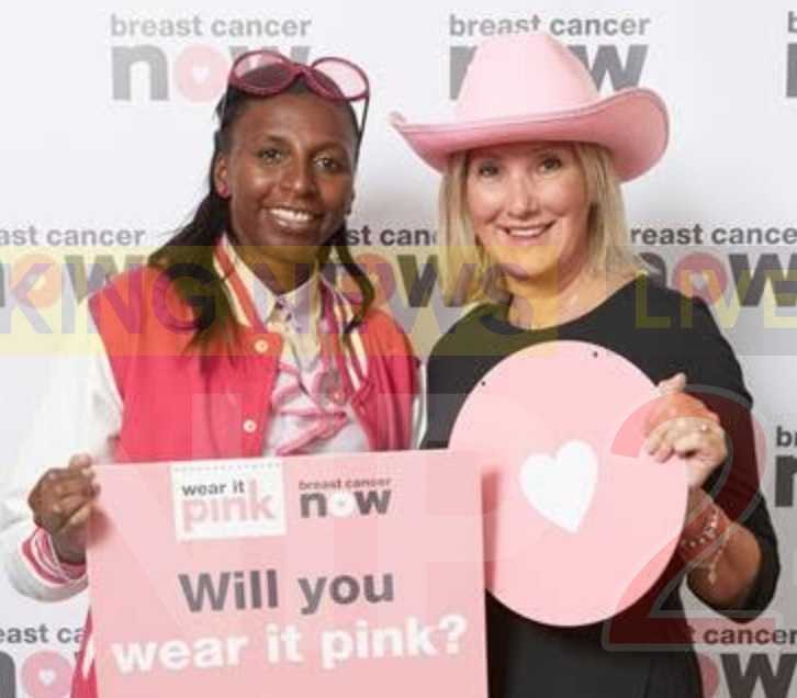 caroline dinenage added a splash of pink to her usual attire to support breast cancer now's wear it pink fundraiser