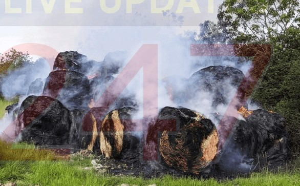 fire crews called to blazing hay bales