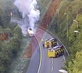 emergency services rushed to fuel tanker on fire in m25 near sevenoak