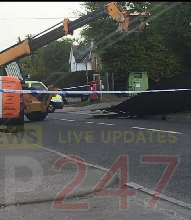 three in custody after cashpoint ripped out of wall by jcb