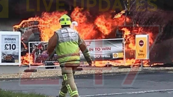 the aftermath after fire rips through petrol station 1