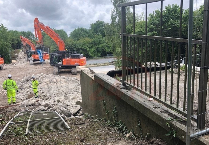 M27 Closed For Bridge Demolition