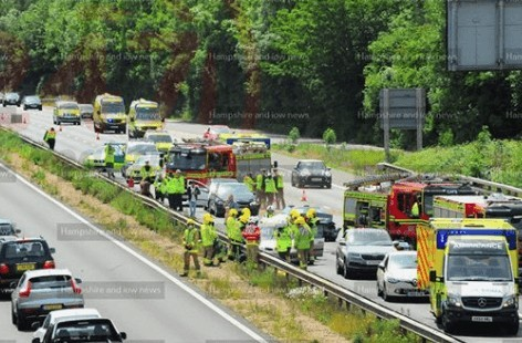 multiple vehicle collision on m3 motorway near eastleigh